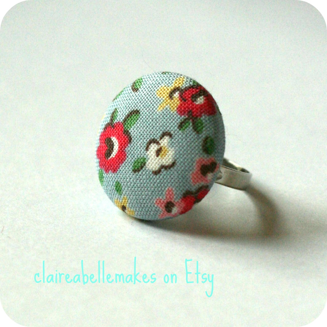 Blue Floral Ring by claireabellemakes