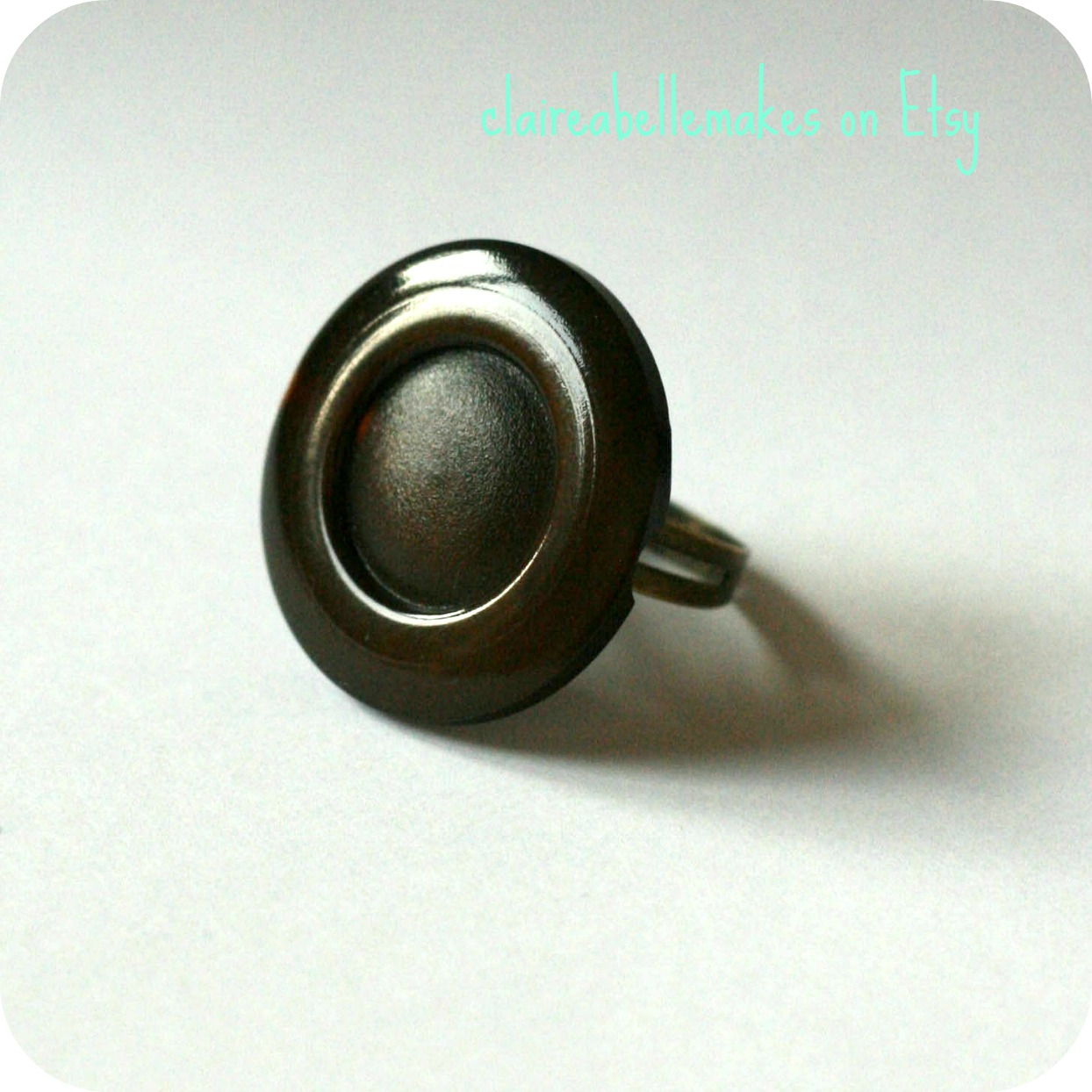Brown Vintage Button Ring by claireabellemakes