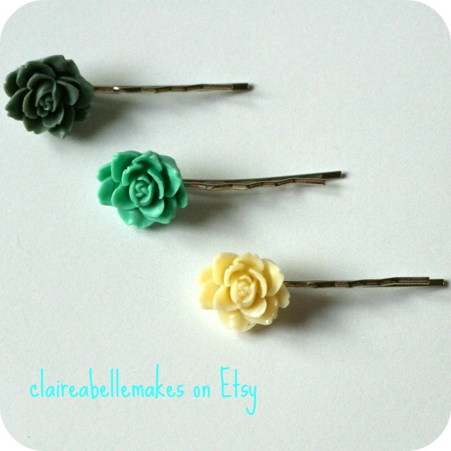 Flower Hairslides by claireabellemakes