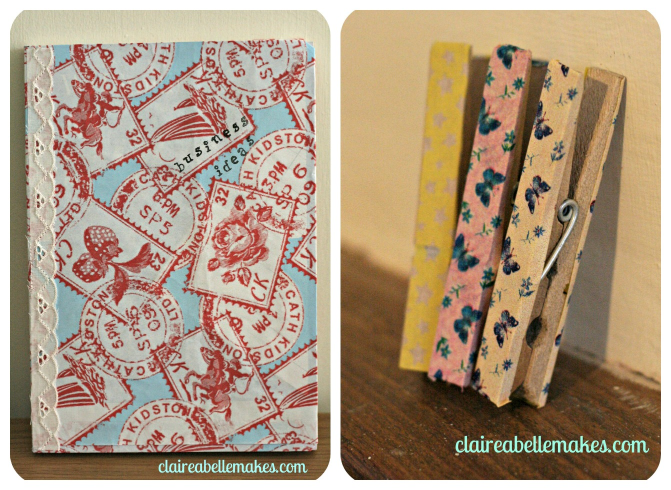 Washi tape Notebook & Pegs: claireabellemakes