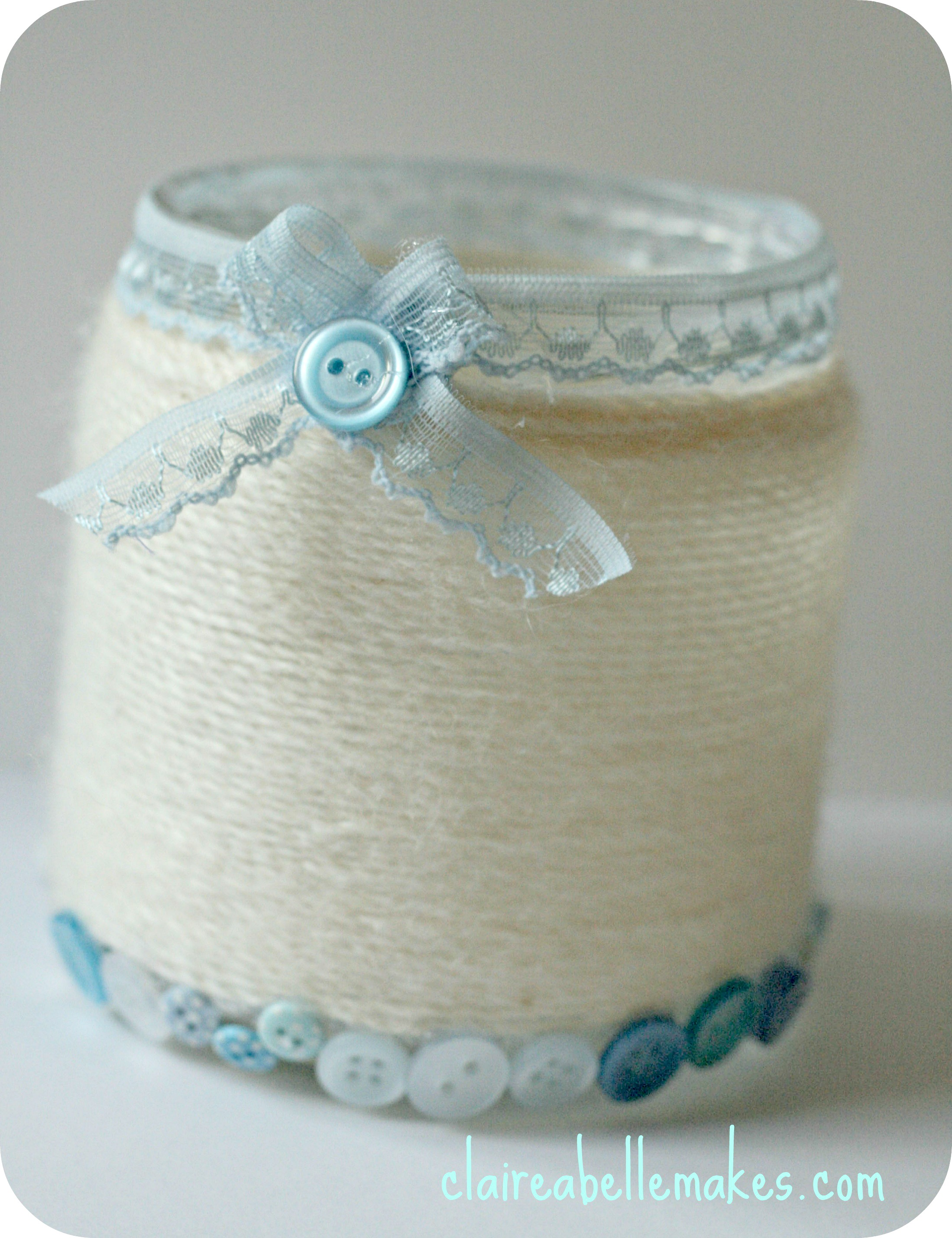Yarn Wrapped Jar by claireabellemakes