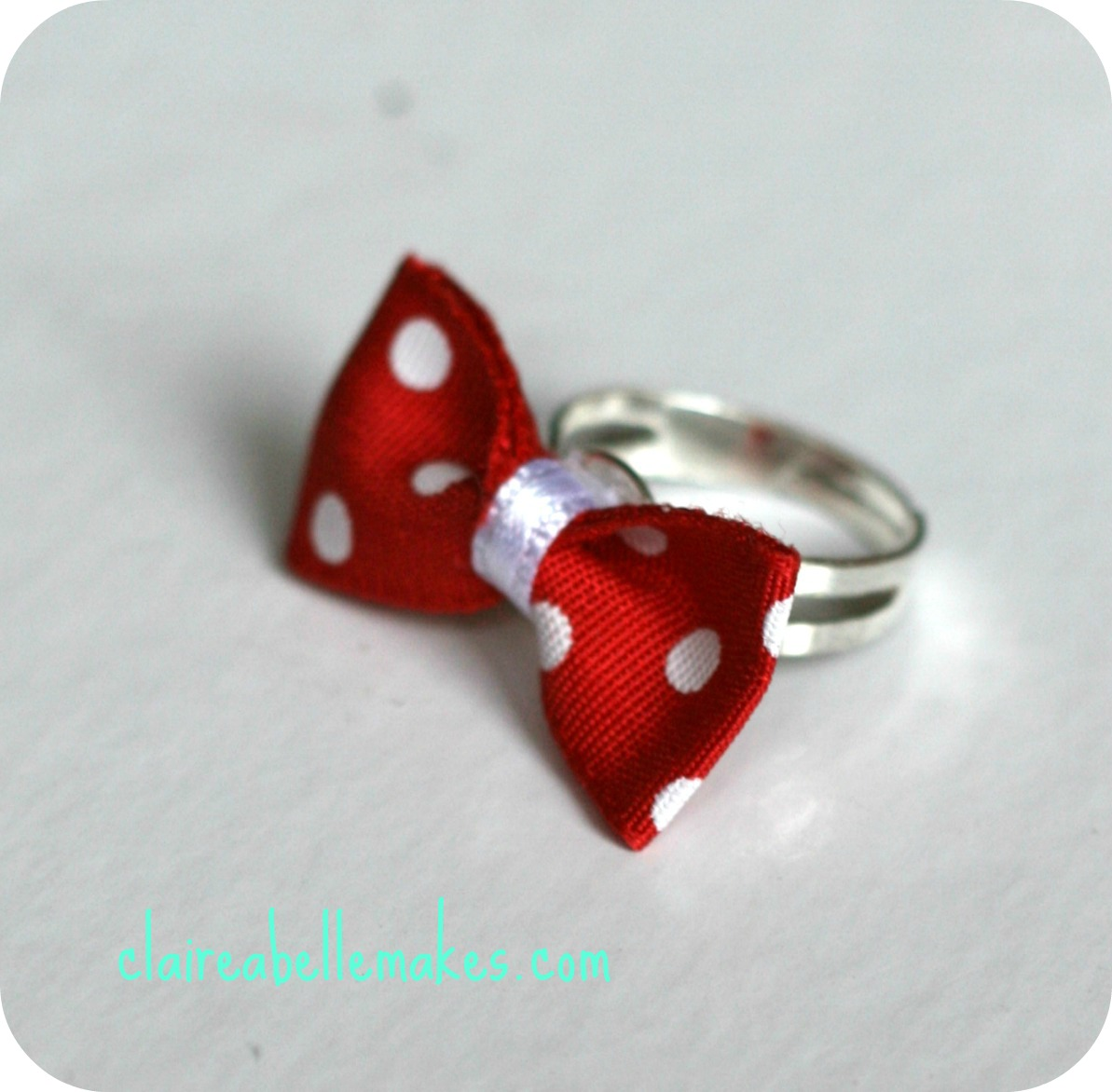 Red & White Polka Dot Bow Ring by claireabellemakes