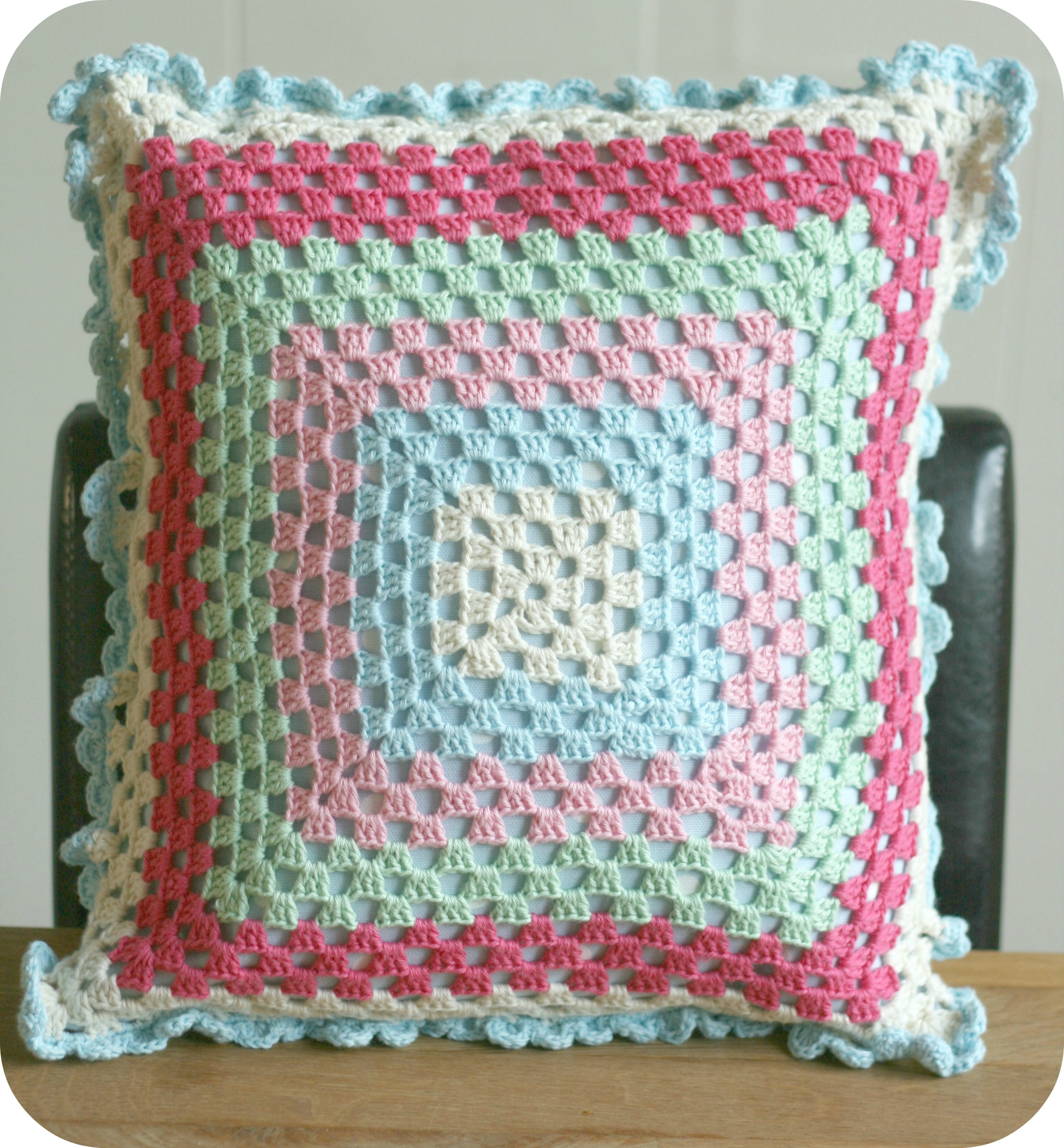 Granny Square cushion by claireabellemakes