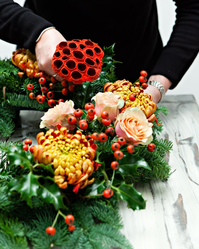 DIY-Christmas-Wreath-Step 5- Add lotus pods