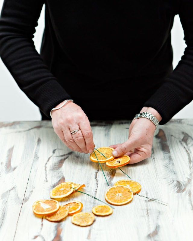 DIY-Christmas-Wreath-Step 8- Oranges wired